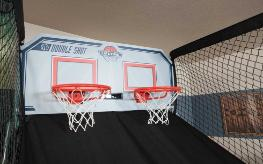Double Shot Basketball Game Backboard with 2 scorekeepers