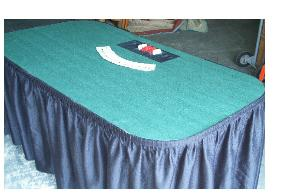 Poker Table Rentals in Michigan with skirting and chip tray